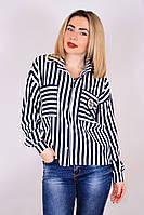 Блуза Шанелька нашивка полоса, полосатая рубашка, блуза в полоску, сорочка жіноча в смужку, фото 1