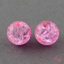 Стеклянная бусина 4мм с эффектом битого стекла кракле розовый для рукоделия