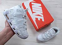 Кроссовки Nike Air More Uptempo Triple White (Высокие белые кроссовки Найк Аптемпо женские и мужские размеры), фото 1