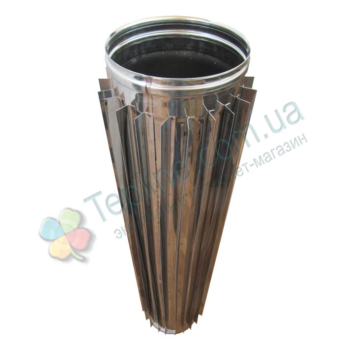 Труба-радиатор для дымохода d 200 мм; 0.8 мм; 1 метр из нержавейки AISI 304 - «Версия Люкс»