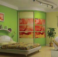 Яркий зеленый радиусный Шкаф-купе , фото 1