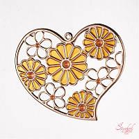 Металлический кулон 54х65мм сердце с эмалью для бижутерии