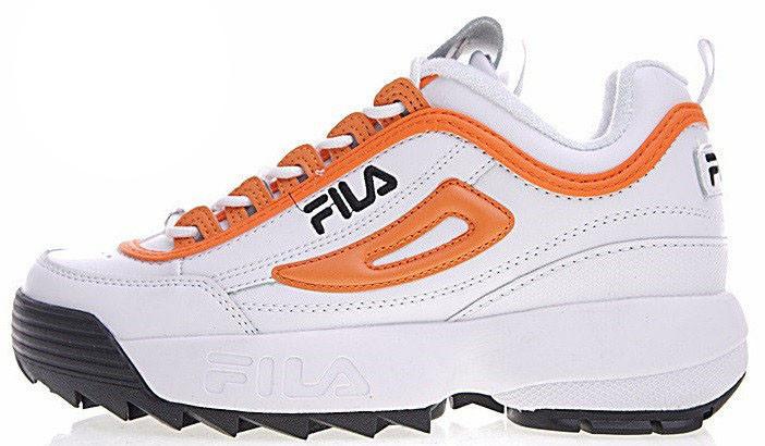 Женские кроссовки Fila Disruptor II (Фила Дисраптор 2) оранжево-белые