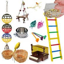 Аксессуары в клетку, игрушки для мелких и средних попугаев