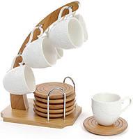 Кофейный набор Ceram-Bamboo 6 чашек 80мл, костеры на бамбуковой подставке