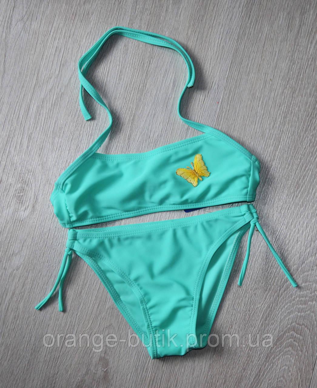 df08e56174f6d Однотонный купальник для девочек с бабочкой - Интернет-магазин