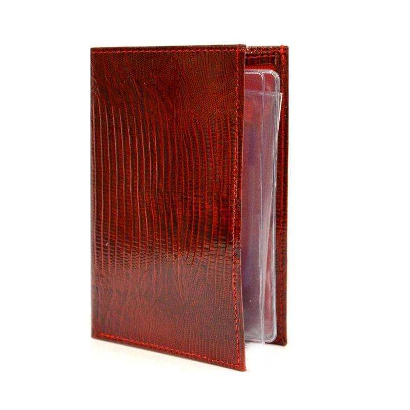 Обложка кожаная для автодокументов Canpel 11111+кошелёк, с кнопкой_лазер красный 015