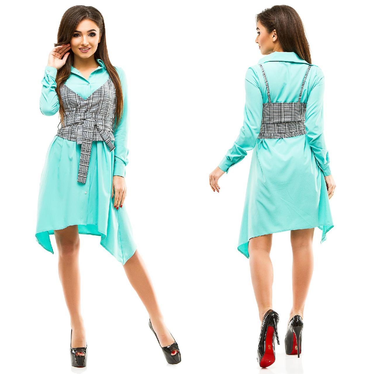 """Асимметричное платье-рубашка """"JILETT"""" с жилеткой в клетку (4 цвета)"""