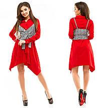 """Асимметричное платье-рубашка """"JILETT"""" с жилеткой в клетку (4 цвета), фото 3"""