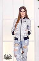 Демисезонная женская куртка бомбер с декором батал