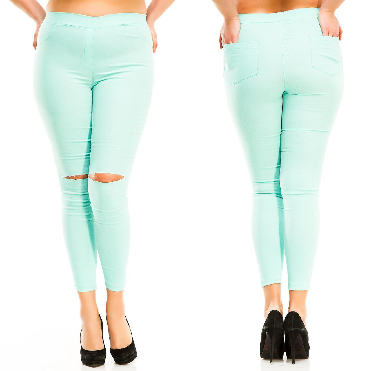"""Стильные джинсовые леггинсы """"CALIOPE"""" с разрезами на коленях (большие размеры)"""