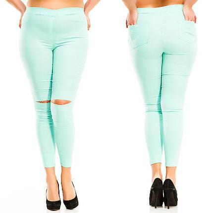 """Стильные джинсовые леггинсы """"CALIOPE"""" с разрезами на коленях (большие размеры), фото 2"""