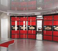 Красный Шкаф-купе с гнутыми дверьми