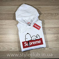 Толстовка с принтом Supreme Snoopy Белая / Кенгурушка