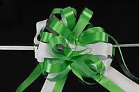 """Бант-затяжка """"Molinia"""" для упаковки подарков, зеленый с серым, ширина ленты 5см, Подарочный бант, Декоративный бант на подарок"""