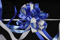 """Бант-затяжка """"Pulsatilla"""" для упаковки подарков, синий с серым, ширина ленты 5см, Подарочный бант, Декоративный бант на подарок"""