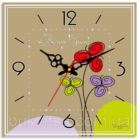 """Часы настенные квадратные """"Мир вам"""", фото 2"""