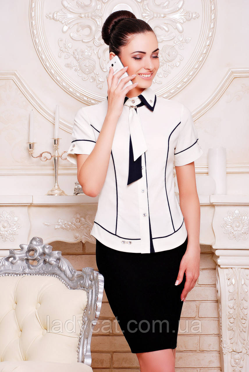 "Рубашка ""Николь""белый+темно-синий"