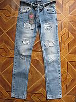 Детские модные стретчевые    джинсы  + поясок для  девочки  подросток  8-12 лет Турция