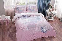 Постельное белье Tac ранфорс Adelia розовое двухспального евро размера
