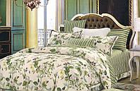 Постельный комплект сатин полуторный, с зелеными цветами