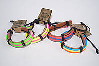 Кожаный браслет цветной