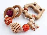 """Подарочный набор для мамы и малыша: слингобусы и грызунок Ярмирина """"Персики Совушка"""" можжевельник и дуб, фото 2"""