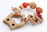 """Подарочный набор для мамы и малыша: слингобусы и грызунок Ярмирина """"Персики Совушка"""" можжевельник и дуб, фото 3"""