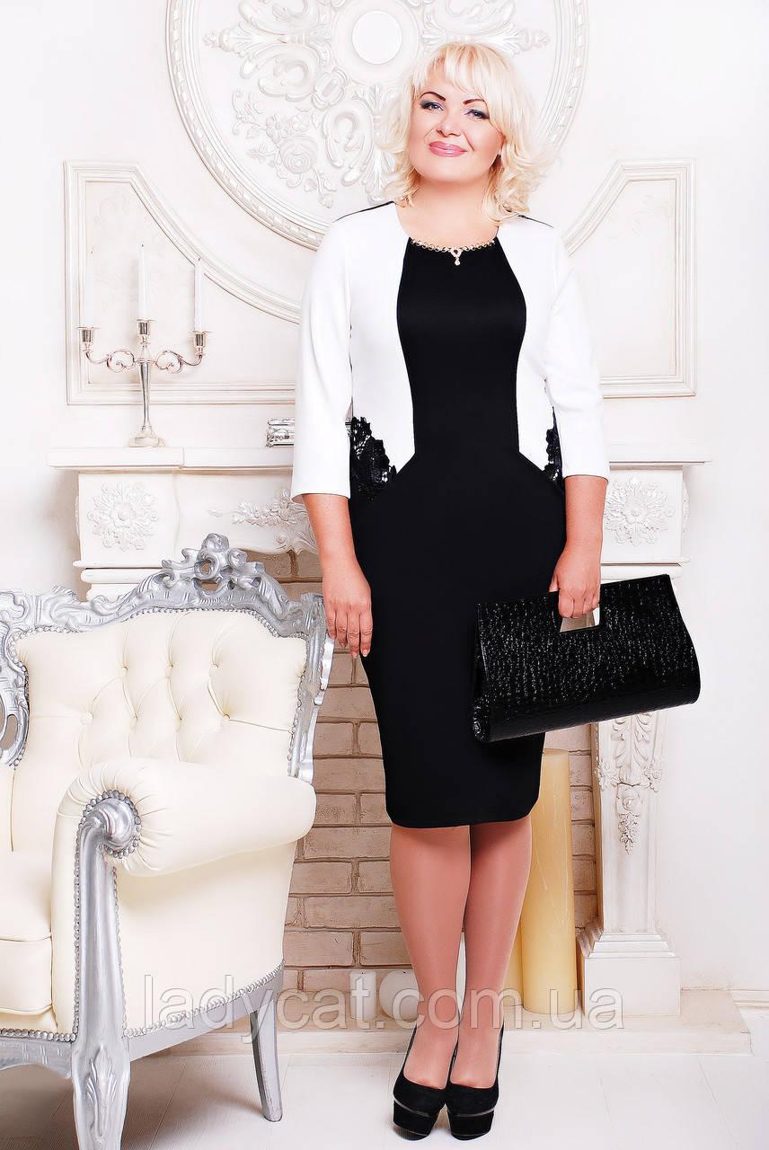 """Платье """"Миледи""""белый+черный"""