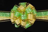 """Бант-затяжка """"Herbertia"""" для упаковки подарков, зеленый с кричневым, ширина ленты 5см, Подарочный бант, Декоративный бант на подарок"""