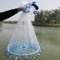 Сеть Кастинговая Американка из лески,парашют рыбацкий с кольцом фрисби,диаметр 4.2. м. для промышленного лова