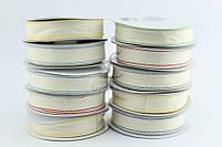 Лента ткань HandMade декоративная 25 мм белого цвета с принтом в виде разноцветной окантовки