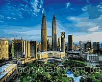 РукИТвор Картина по номерам (VP823) Башни Петронас. Малайзия (40х50)