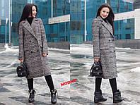 Женское прямое пальто-пиджак в клетку