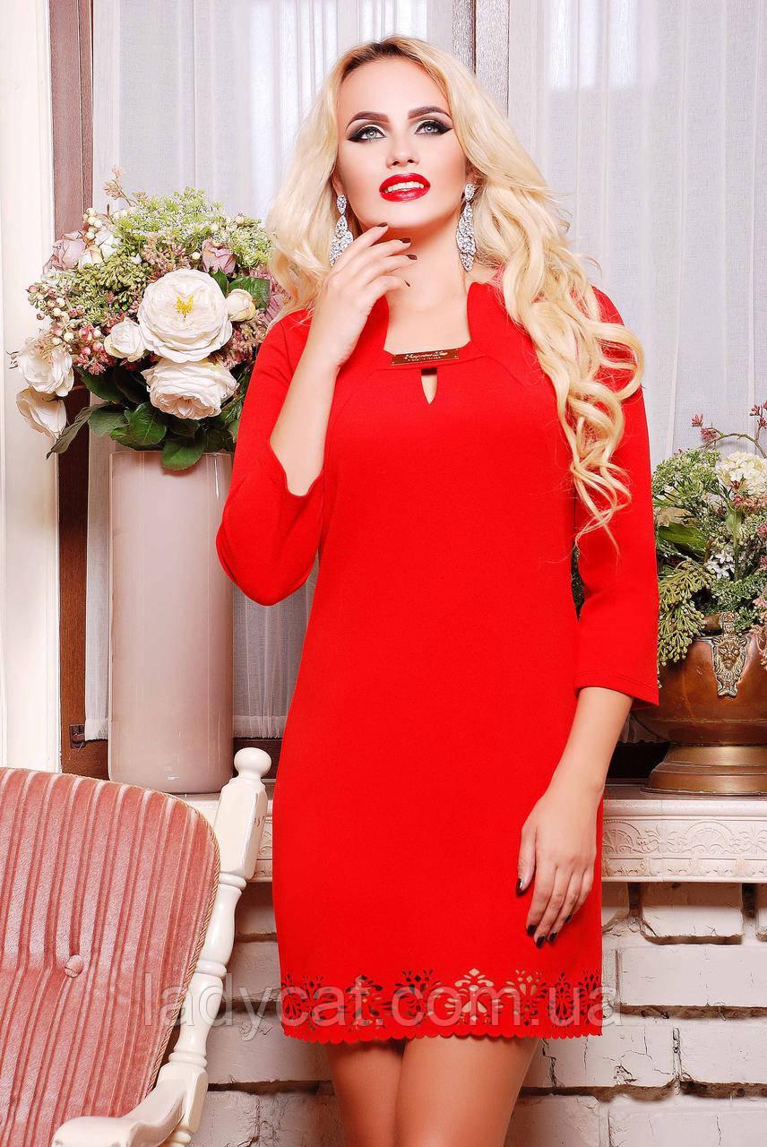 Красное молодежное красивое женское платье с рукавом три четверти