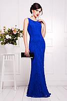 Облегающее гипюровое вечернее длинное платье цвета электрик
