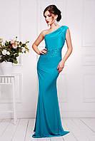 Красивое женское вечерние длинное платье бирюзового цвета