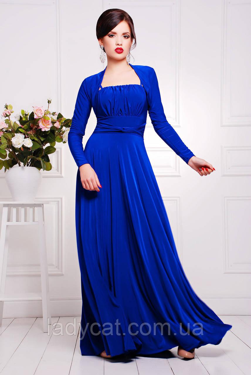 Нарядное вечернее женское платье с юбкой солнце цвет электрик