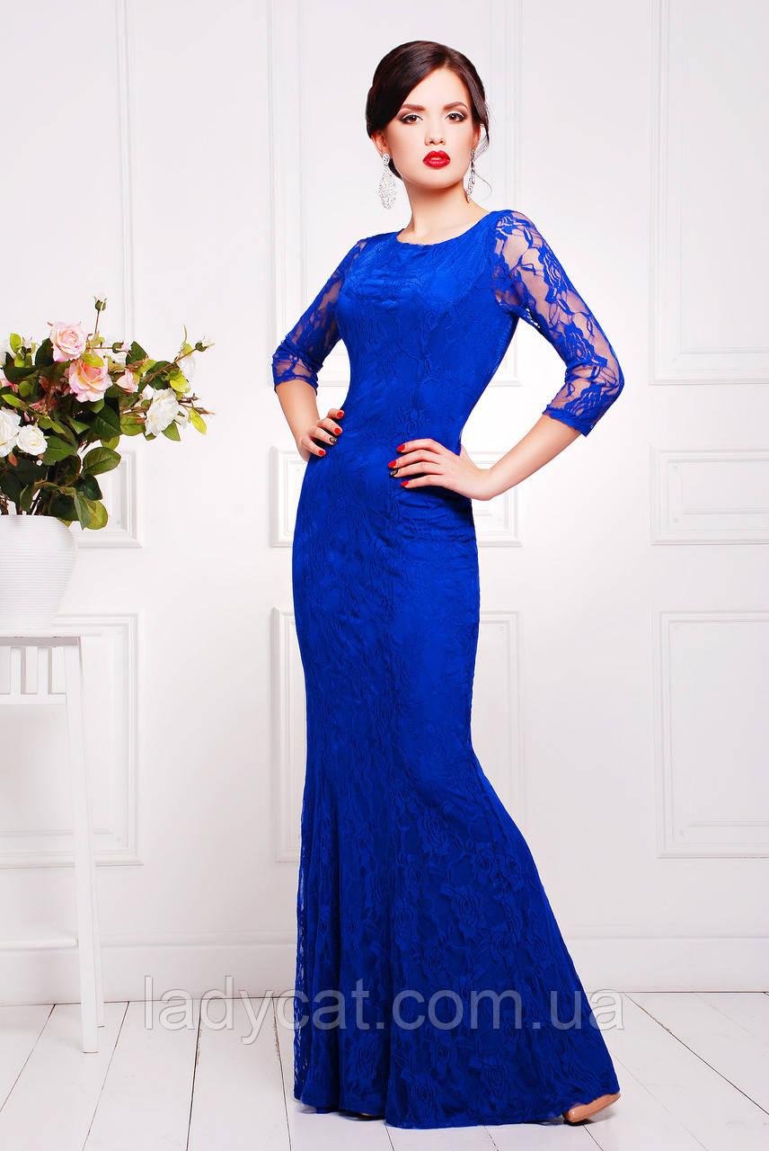Элегантное длинное женское вечернее платье с рукавом три четверти цвет электрик