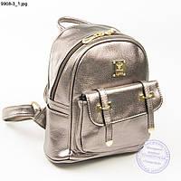 Рюкзак из эко-кожи розово-бронзовый - 9908-3