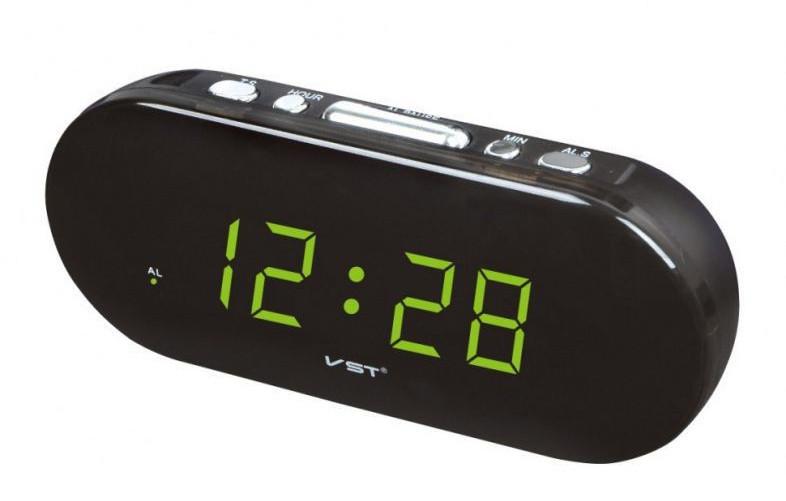 Настольные часы с будильником от сети с красной подсветкой VST-715-1