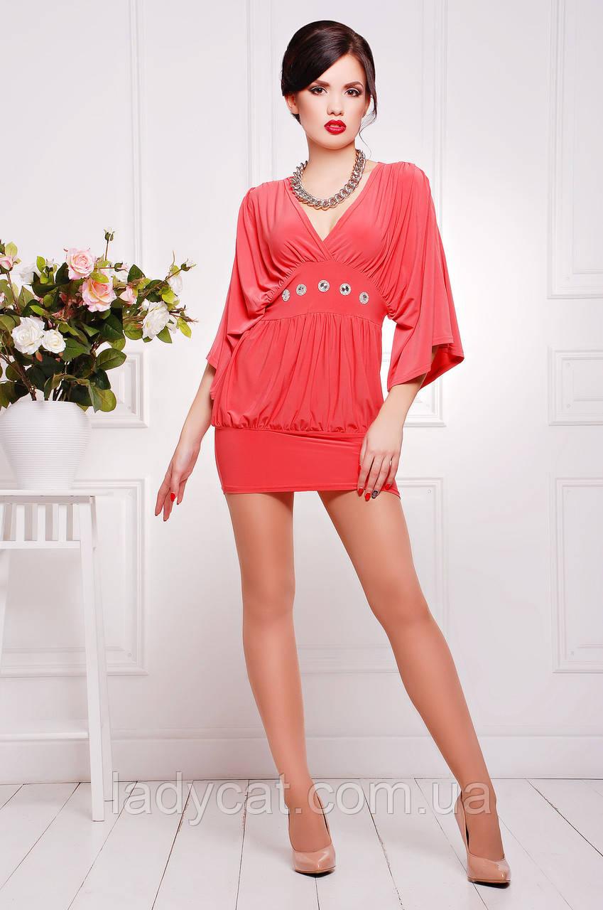18699b8fbcbd3d6 Короткое нарядное вечернее женское платье-туника кораллового цвета, цена  710 грн., купить в Николаеве — Prom.ua (ID#671228018)