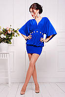 Короткое нарядное вечернее женское платье-туника  цвет электрик