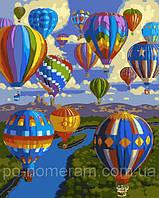 РукИТвор Картина по номерам (AS0034) Полет воздушных шаров(40 х 50 см)