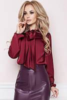 Бордовая шелковая блузка -Эмилия-