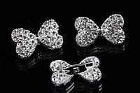 """Брошь """"Бантик"""" (серебро) в белых камнях, украшения для одежды, ювелирная бижутерия"""