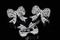 """Брошь """"Бантик 2"""" (серебро) в белых камнях, украшения для одежды, ювелирная бижутерия"""