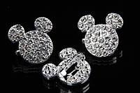 """Брошь """"Микки Маус"""" (серебро) в белых камнях, украшения для одежды, ювелирная бижутерия"""