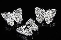 """Брошь """"Бабочка"""" (серебро) в белых камнях, украшения для одежды, ювелирная бижутерия"""
