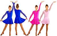 Платье рейтинговое с гипюром бейсик 1642, 3 цвета: размер 122-164см